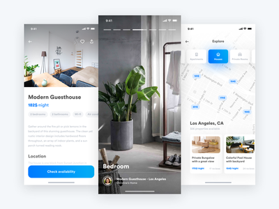 Home grid typography ux ui interaction design photo photography white clean light carousel app ios iphone flat gradient shadow minimal instagram stories video tour location place airbnb home travel interior furniture rent booking apartment