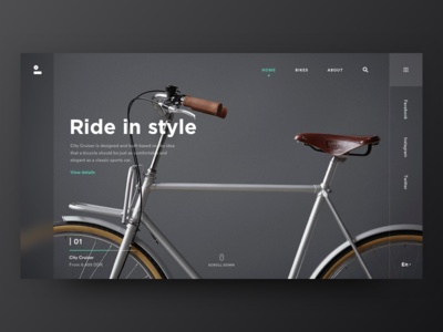 Black Ride. web landing page black dark theme blur industrial store shop ecommerce grid blank white timeline design ui ux bike copenhagen company ride minimal clean flat product design