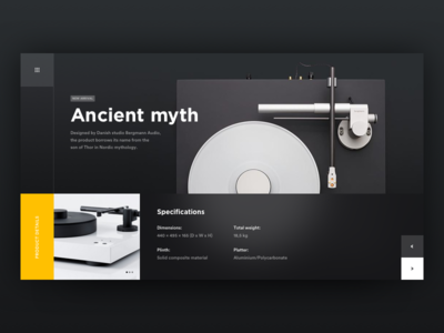 Vinyl. product design minimal clean flat music player vinyl record sound design ui ux white timeline grid blank industrial store shop ecommerce black dark theme blur web landing page