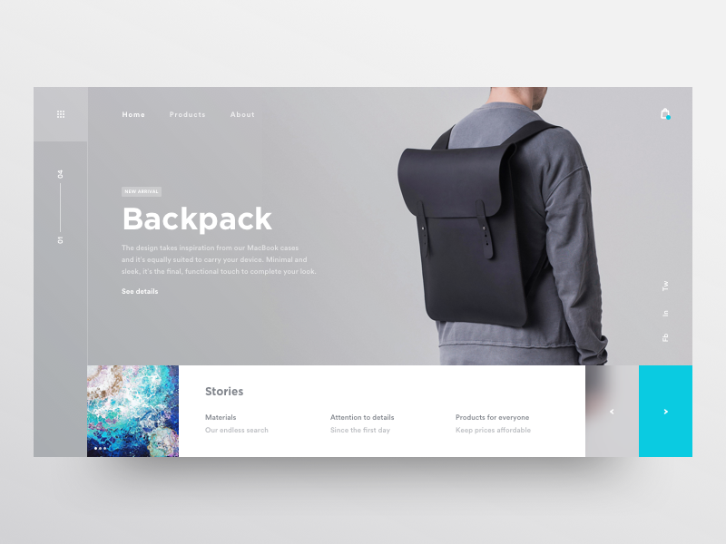 Backpack product design minimal clean flat backpack black wear fashion design ui ux grid blank industrial store shop ecommerce white clean minimal theme blur web landing page