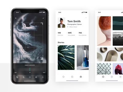 Cam. invites invitation draft invite camera black editing blur tools social profile gallery grid counter camera discover album instagram stories video flat gradient shadow minimal app ios iphone white clean light design photo photography ux ui interaction grid typography