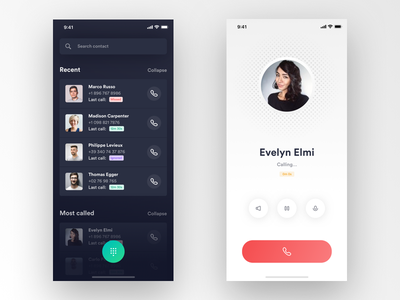 Phone grid typography ux ui interaction app ios iphone profile control utility tool phone call contact list