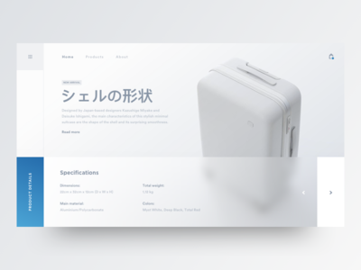 The Shape Of The Shell travel bag japanese web landing page white clean minimal theme blur industrial store shop ecommerce grid blank design ui ux suitcase black wear fashion minimal blue light flat gradient product design
