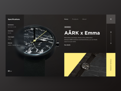 Ark product design minimal clean flat clock watch time wear fashion design ui ux yellow detail grid blank industrial store shop ecommerce black dark theme blur web landing page