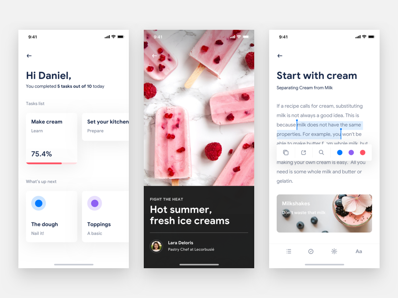 Ice Cream learn read course stats profile task manager read book editing cooking chef recipe food blog flat gradient shadow minimal carousel app ios iphone black white clean light design photo photography ux ui interaction grid typography