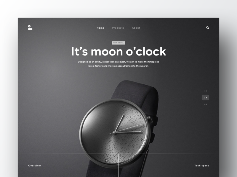Moontime industrial store shop ecommerce fashion wear clock watch time smartwatch technology apple clean black dark web landing page design ui ux flat gradient shadow minimal product design
