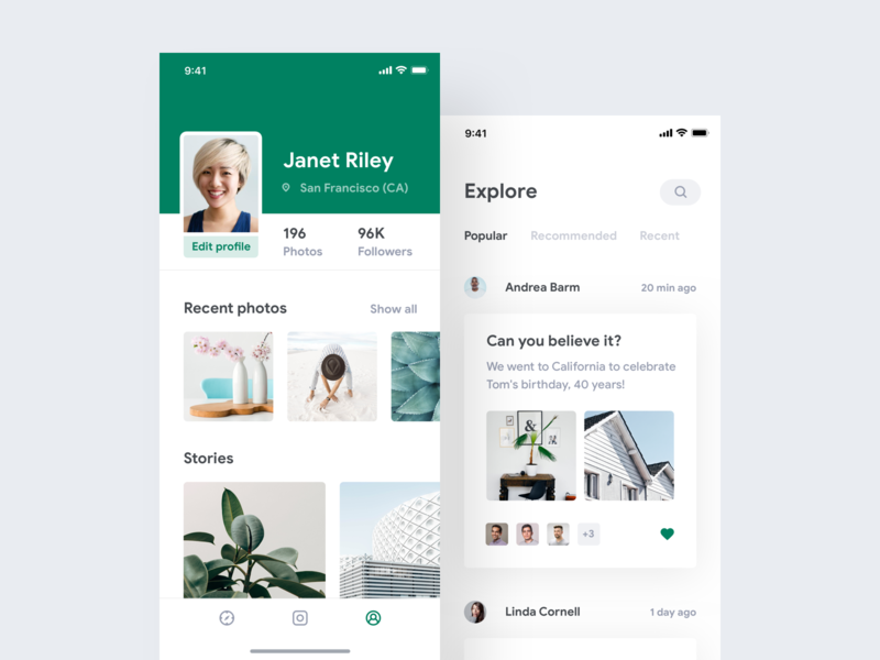 Leaf white clean light green photo photography camera social profile gallery instagram grid typography minimal app ios iphone flat shadows contrast google product design design ui ux