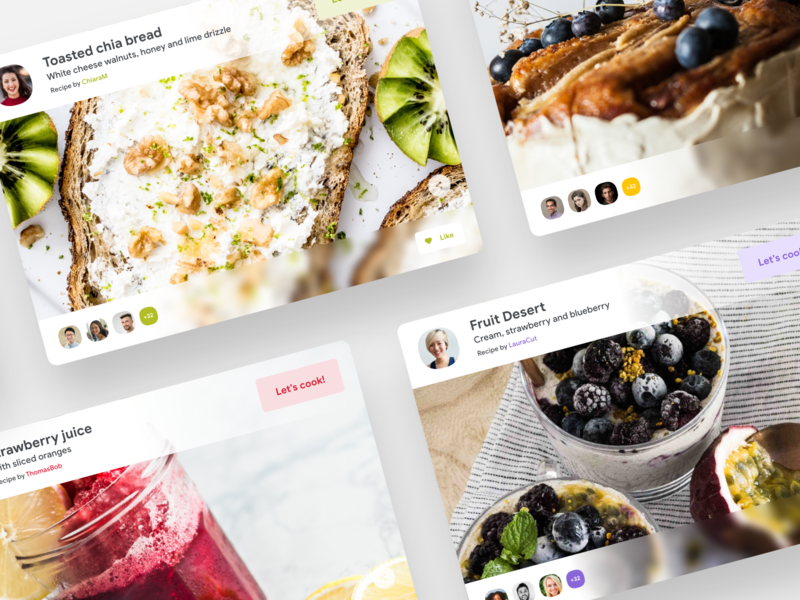 Recipe Tabs [Reboot Series] app cards modular web recipe book learning rating grid typography layout white clean light minimal product design flat gradient shadow minimal design ui ux
