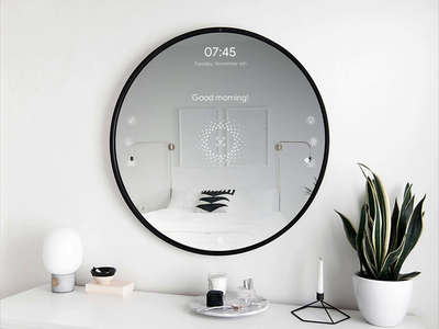 Smart Mirror Concept + 🎟️2 Dribbble Invites! home clean minimal schedule weather draft invitation invites animation circular ui domotic gestures face id voice controls hud interaction design interaction mirror smart