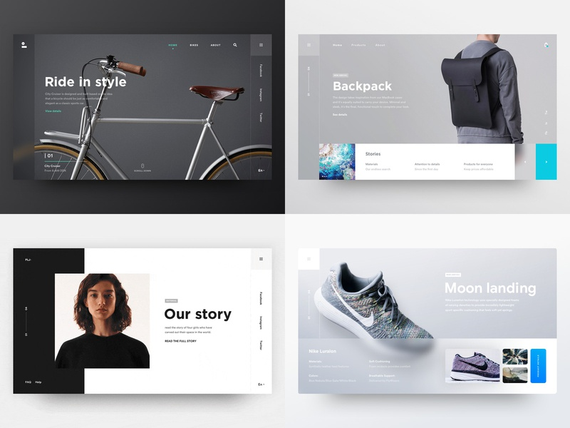 My top shots of 2018 🔥 product design fashion experience apparel cards filters landing page grid typography white dark clean blur industrial store shop ecommerce ux ui interaction flat gradient shadow minimal design ui ux