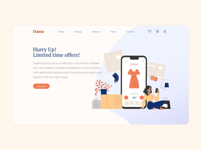 Online store home page clothes landingpage design