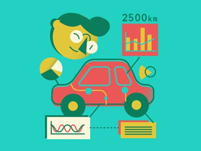 Get your car checked vehicle simple nerd diagram stats character car 2d