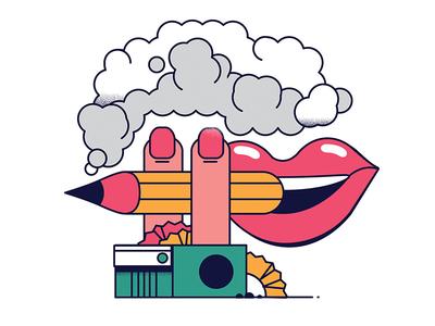 Smoking And Creativity nail polish pencil sharpener smile mouth smoke pencil
