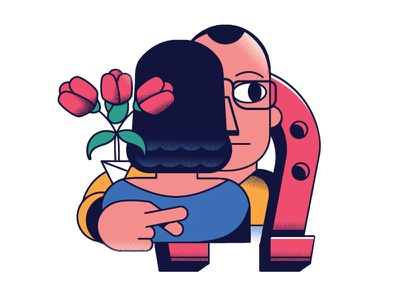 Wandering Eye modern love illustration simple hug roses infidelity