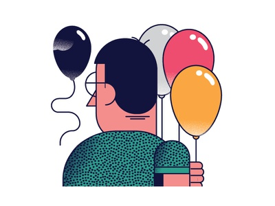 Falling In Love With The One You Cant Have over the shoulder illustration editorial simple glasses balloon
