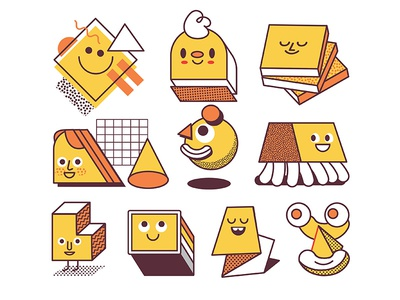 Character Sketches smile jolly memphis orange character 3d fun yellow