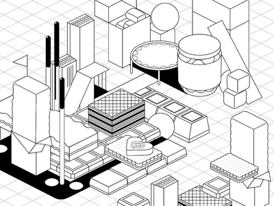 Candy Town bw isometric fun waffle gum chocolate sweets