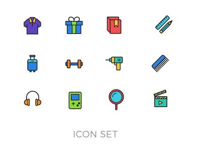 Category Icon Set games music grooming beauty home fitness books gifting travel clothing category navigation