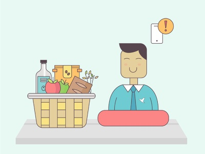 Onboarding Illustration 2 yummy foodhall gourmet food shopping products e-commerce india ios app design user interface