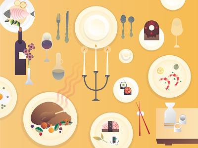 Gourmet Meals gradients vector graphic design design yummy food illustration mumbai restaurant