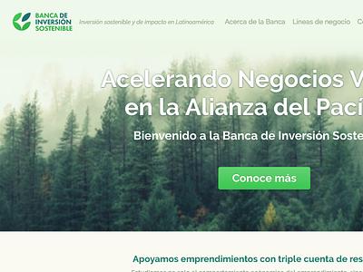 Banca de Inversión Sostenible finance green landing web design logo design
