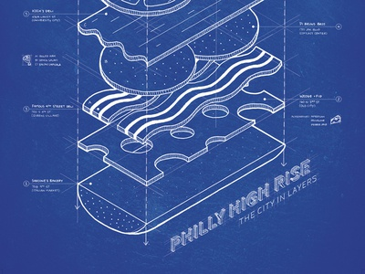 Philly High Rise - The City in Layers infographic map philly sandwich hoagie typography hand drawn illustration
