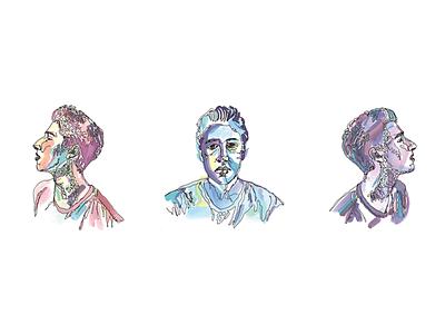 Contour Line Portraits portrait line drawing contour drawing watercolor
