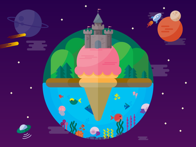AWeber Summer Cookout 2016  fish ocean castle planet ice cream galaxy space illustration flat