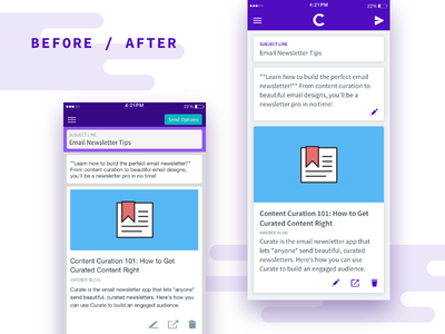 Before & After - Curate UI Refresh (iOS) aweber curate mockup ios app mobile refresh ui after before