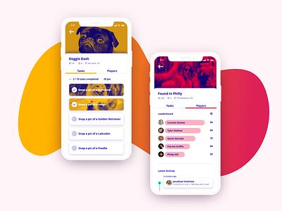 Raccoon - Scavenger Hunt App uiuxdesign uidesign adobe xd uiux ui  ux mobile app experience mobile mobile app design mobile app
