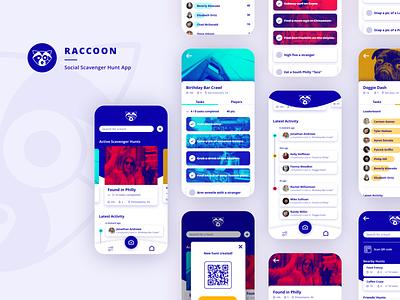 Raccoon - Scavenger Hunt App card ui app design mobile design uxdesign uidesign ui ux mobile app experience mobile app design