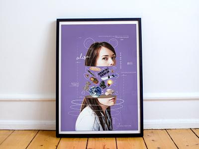 A2 Poster Self-portret purple poster design graphic design poster