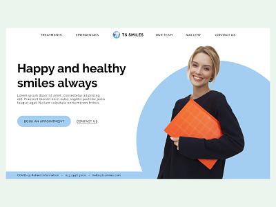 Dentist Website Hero Section Concept smile girl light blue dentist ui wordpress elementor design branding adobexd