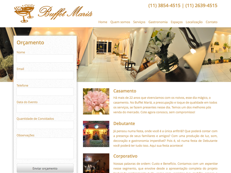 Buffet Mariá layout landing page buffet