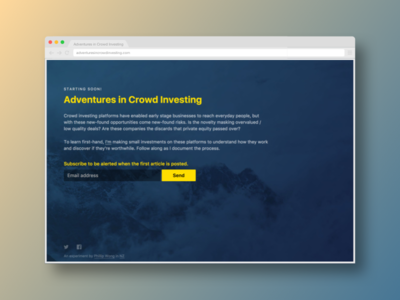 I'm starting a new project on equity crowd investing. website web landing coming soon investing crowd