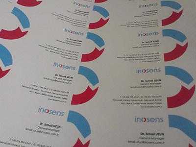 inosens business card inosens business card company logo red blue simle identity