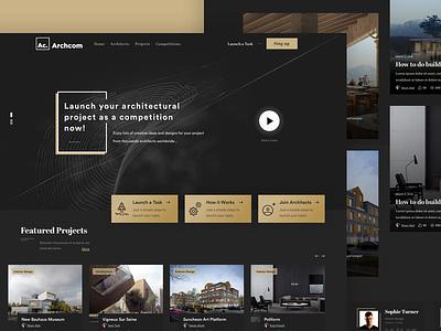 Archcom - Homepage freelance works portofolio profile architects ui ux design typography arabic
