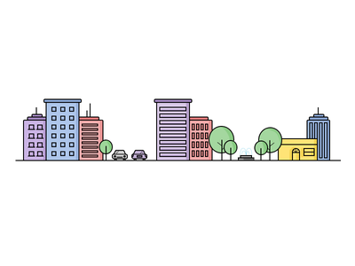 City with park and street illustration line icon icon street park city