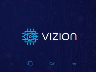 Vizion Logo digital crypto currency bitcoin microchip chip eye design mark logos logotype logomark logo