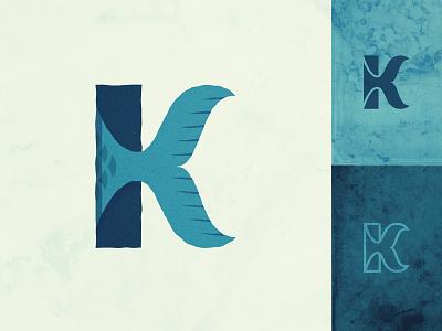 esKAYping Fish icon logo k character k letter k flipper fin fish
