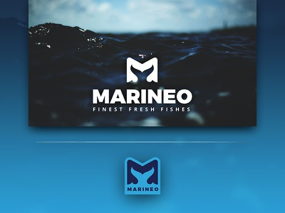 Marineo diving aquatic negative space fish flipper fin swimmer letterform character m letter m m logo