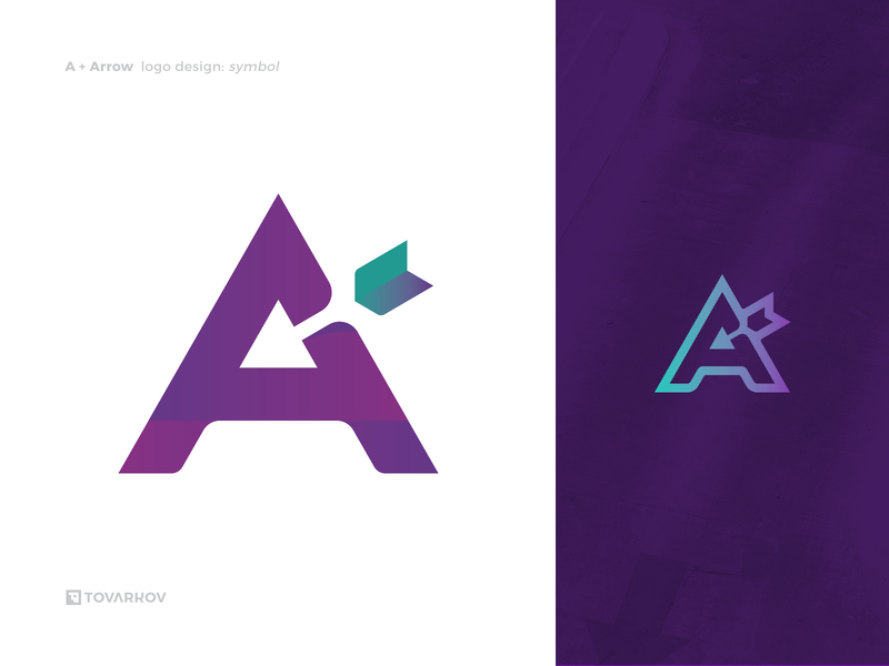 A for Arrow arrowhead arrow negative space logo icon logo symbol logomark logo