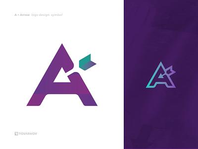 A for Arrow arrowhead arrow negative space logo icon logo symbol logomark logo
