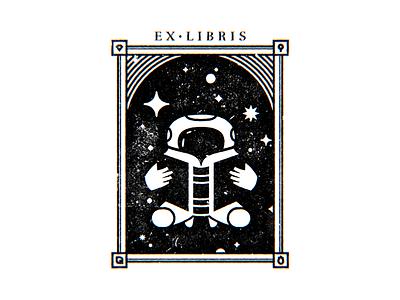 Ex Libris bookplate book logo astronaut cosmos space ex libris ex-libris exlibris