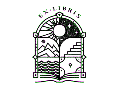Ex Libris II bookplate linear illustration linear lineart reading books ex-libris ex libris exlibris