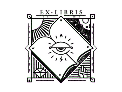 Ex Libris III bookplate bw lineart reading books book ex libris ex-libris exlibris