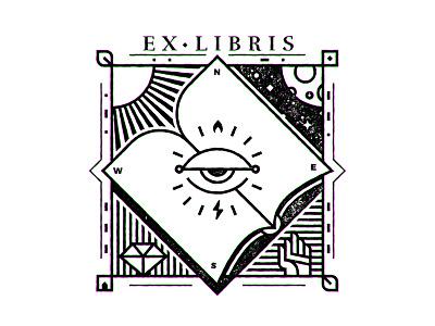 Ex Libris III bookplate bw lineart reading books book ex libris ex-libris exlibris