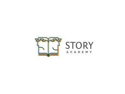 Story Academy logomark logotype logo script paper book laurel wreath laurels laurel face theatre theater drama storytelling story