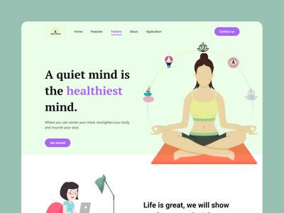 Yoga header exploration figma design healthcare branding design uiux illustration