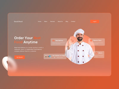 Food Delivery Landing page - Header delivery character